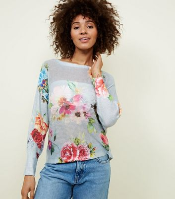 Cameo Rose Light Grey Floral Fine Knit Jumper