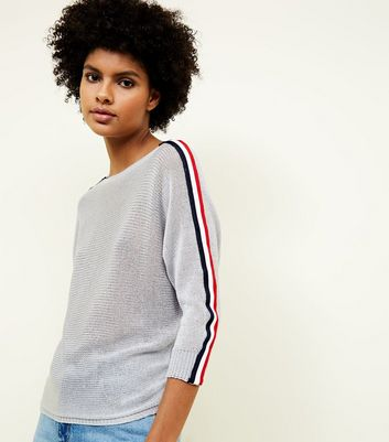 Cameo Rose Grey Stripe Sleeve Fine Knit Jumper