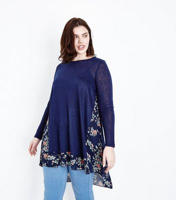 Blue Vanilla Curves Navy Floral Chiffon Panel Jumper