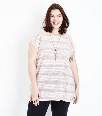 Blue Vanilla Curves Pale Pink Necklace Tunic Top