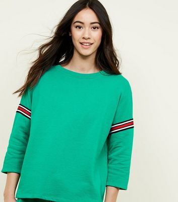 Cameo Rose Green Stripe Tape Sleeve Sweatshirt