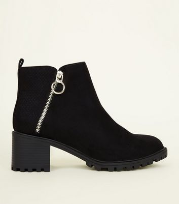 Black Ring Zip Cleated Sole Ankle Boots by New Look