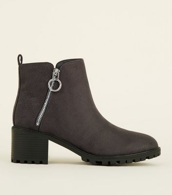 Grey Ring Zip Cleated Sole Ankle Boots
