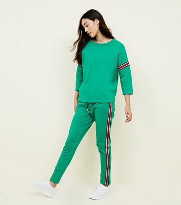 Cameo Rose Green Stripe Tape Side Joggers
