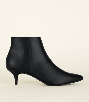 Black Leather-Look Kitten Heel Ankle Boots