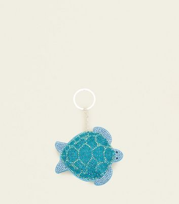 Blue Diamanté Turtle Keyring by New Look