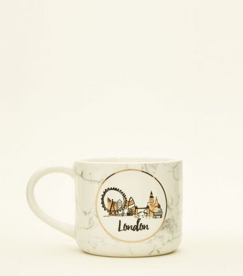 Pale Pink London Marble Effect Mug by New Look