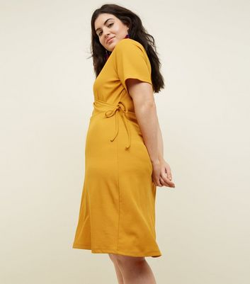 Curves Mustard Ribbed Jersey Wrap Dress