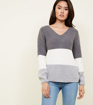 Light Grey Colour Block Twist Back Jumper
