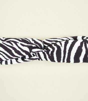 Black and White Zebra Print Twist Knot Headband