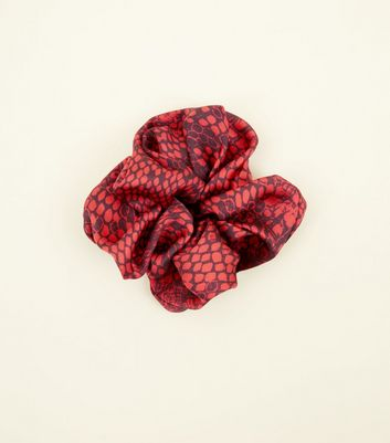 Red Snakeskin Print Scrunchie