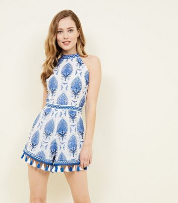 Cameo Rose Blue Lace Leaf Tassel Trim Playsuit