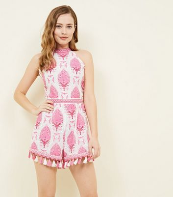Cameo Rose Pink Lace Leaf Tassel Trim Playsuit