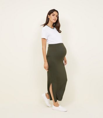 Maternity Khaki Side Split Jersey Maxi Skirt
