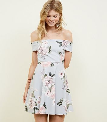 Petite Light Grey Floral Bardot Skater Dress