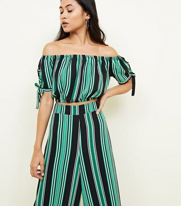Petite Green Stripe Bardot Crop Top