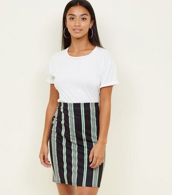 Petite Black Stripe Ribbed Tube Skirt