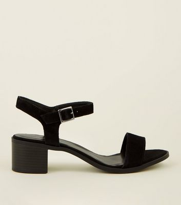 Black Suede Two Part Block Heel Sandals