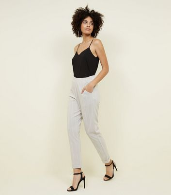 Tall Light Grey Stripe Tapered Trousers