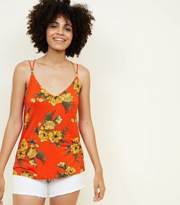 Orange Floral Ring Detail Cross Back Cami