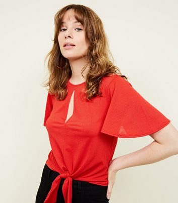 Red Flutter Sleeve Keyhole Tie Front Top