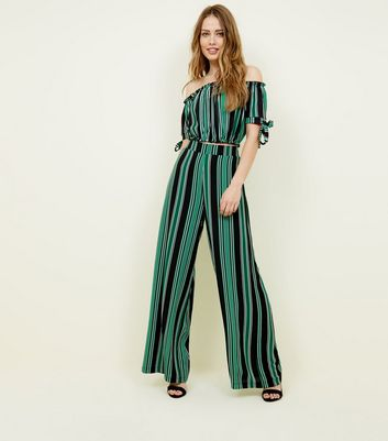 Tall Green Stripe Wide Leg Trousers