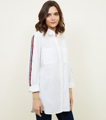 White Tape Sleeve Longline Shirt