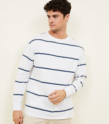 White Two-Tone Stripe Long Sleeve Top
