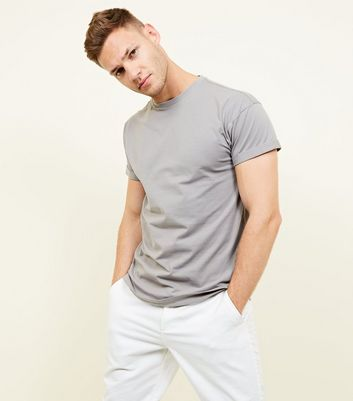 Pale Grey Rolled Sleeve T-Shirt