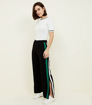 Cameo Rose Black Side Stripe Split Hem Trousers
