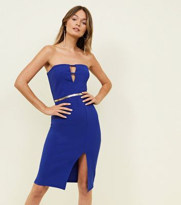 Blue Cut Out Belted Bandeau Bodycon Dress