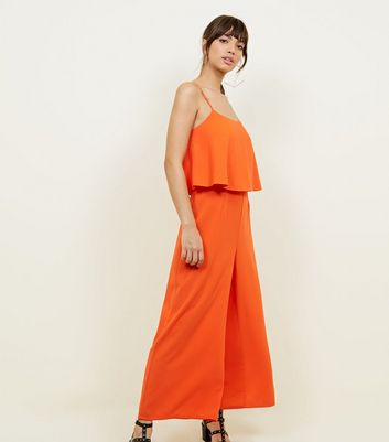 Bright Orange Layered Wide Leg Jumpsuit