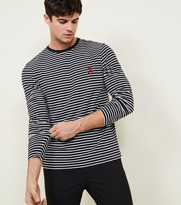 Black Rose Embroidered Stripe Long Sleeve T-Shirt