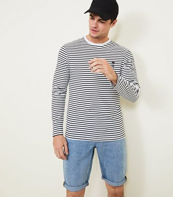 White Rose Embrodiered Stripe Long Sleeve T-Shirt