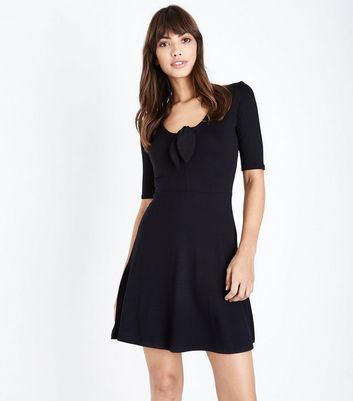 Innocence Black Tie Front Dress