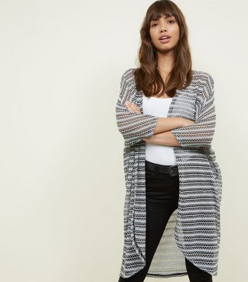 Black Stripe Fine Knit Cocoon Cardigan