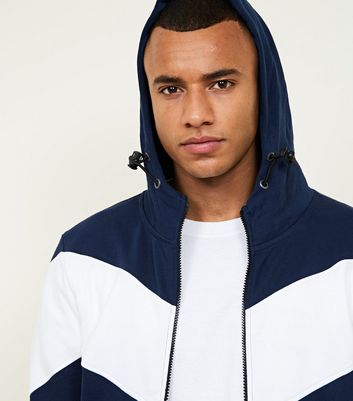 Navy Contrast Chevron Zip Up Hoodie