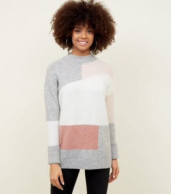 Pink Patchwork Knit Jumper