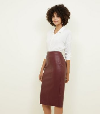 Burgundy Leather-Look Pencil Skirt