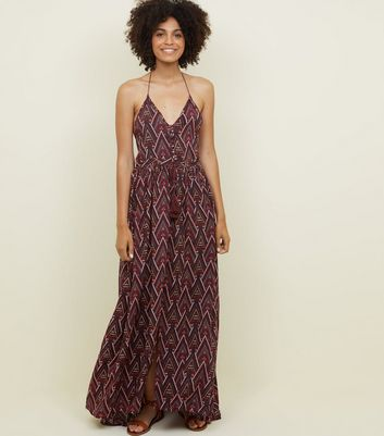 Blue Vanilla Red Aztec Print Halterneck Maxi Dress