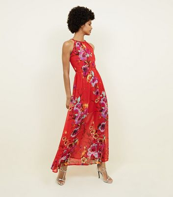 Blue Vanilla Red Floral Plait Neck Maxi Dress