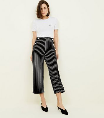 Cameo Rose Black Stripe Button Culottes