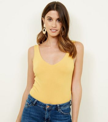 Mustard V-Neck Sleeveless Bodysuit