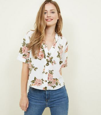 White Floral Short Sleeve Boxy Shirt