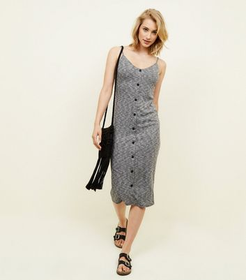 Grey Marl Ribbed Button Front Midi Dress