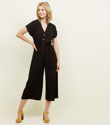 Black Linen-Look Button Up Culotte Jumpsuit