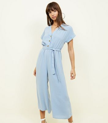 Blue Linen-Look Button Up Culotte Jumpsuit