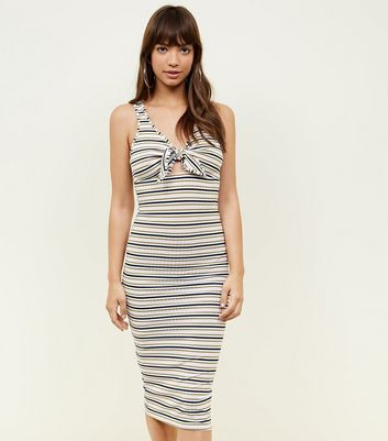 Pink Stripe Ribbed Tie Front Midi Dress