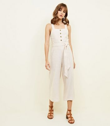Stone Stripe Linen Blend Button Front Jumpsuit