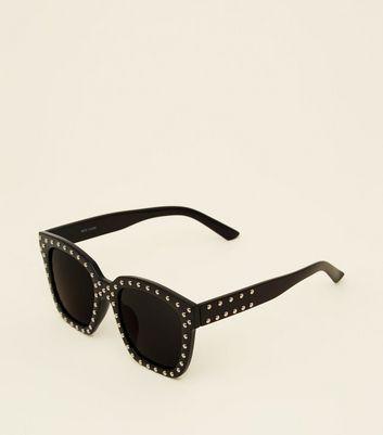 Black Studded Rectangle Sunglasses        Boîtier à Lunettes De Soleil Or Rose        Étui à Lunettes Noir by New Look